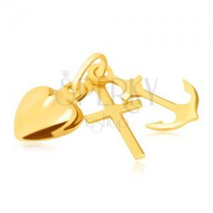 Trojprívesok v žltom 14K zlate - kotva, srdce a kríž, lesklé a hladké