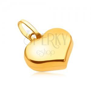 Prívesok zo žltého 14K zlata - ligotavé hladké pravidelné srdce