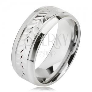 Lesklý oceľový prsteň, ryhy, vzor z rozdvojených lístkov