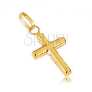 Zlatý prívesok 585 - drobný latinský kríž, zrkadlový lesk