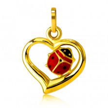 Zlatý prívesok 585 - obrys nepravidelného srdca, glazúrovaná lienka