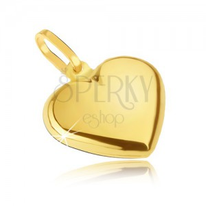 Zlatý prívesok 585 - hladké pravidelné srdce, zrkladlovolesklé