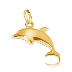 Šperky eshop - Prívesok zo žltého 14K zlata - ligotavý trojrozmerný skákajúci delfín GG05.33