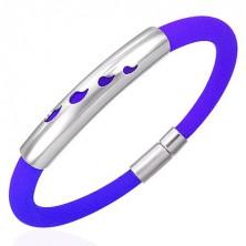 Gumený náramok s kovovou ozdobou - kvapky, modrý