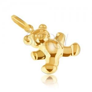 Zlatý prívesok 585 - trblietavý jemne gravírovaný 3D macík, zaoblený povrch