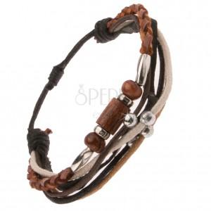 Multináramok, hnedý kožený pletenec, čierny prúžok, korálky, motúziky