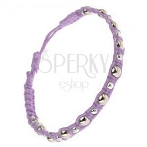 Pletený šnúrkový náramok, fialový, veľké a malé kovové korálky