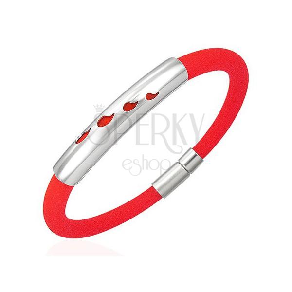 Náramok z gumy - 4 slzičky, červený