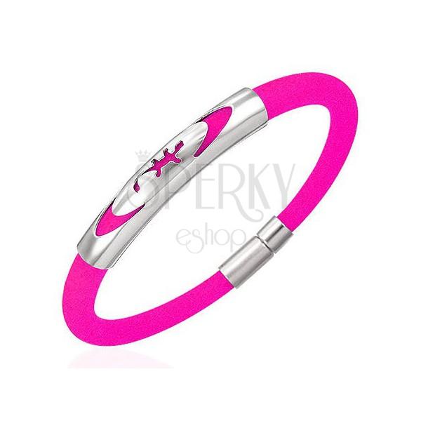 Gumový náramok - jašterička v elipse, ružový