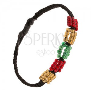 Čierny pletený šnúrkový náramok, farebné korálkové ovály