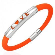 Oranžový silikónový náramok - LOVE