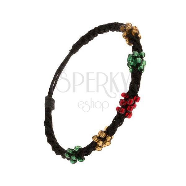 Špirálový náramok z čiernych šnúrok, korálky troch farieb