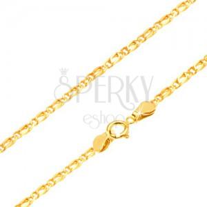 Zlatá retiazka 585 - prepojené lesklé oválne očká, zarovnané, 450 mm
