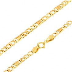 Šperky eshop - Retiazka v žltom 14K zlate - tri očká, mriežkovaný oválny článok, 510 mm GG25.36