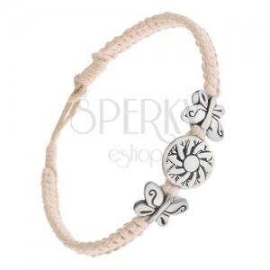 Krémovobiely šnúrkový náramok, kruhová známka s kvetom, motýle