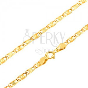 Zlatá retiazka 585 - mriežkovaný a lúčovitý článok, 500 mm