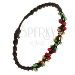 Špirálový náramok z čiernych šnúrok a farebných korálok