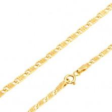 Retiazka zo žltého 14K zlata - ploché podlhovasté očká s mriežkou, 500 mm