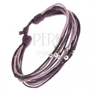 Náramok z fialových a čiernych šnúrok, guličky striebornej farby
