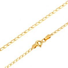 401ed595a Šperky eshop - Retiazka v žltom 14K zlate - lesklé ploské oválne očká, 500  mm