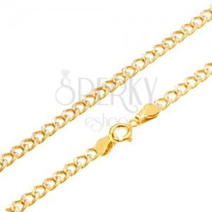 Zlatá retiazka 585 - trblietavé zahnuté oválne očká, ryhovanie, 500 mm