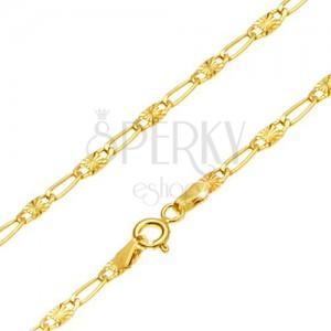 Retiazka v žltom 14K zlate - dlhé očko, článok s lúčovitým ryhovaním, 490 mm