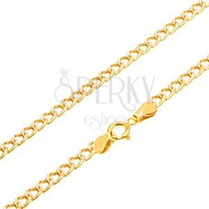 Retiazka zo žltého 14K zlata - oválne hrubšie očká, ryhovanie, 450 mm
