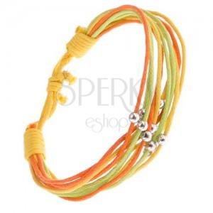 Šnúrkový multináramok žltej, oranžovej a zelenej farby, guličky