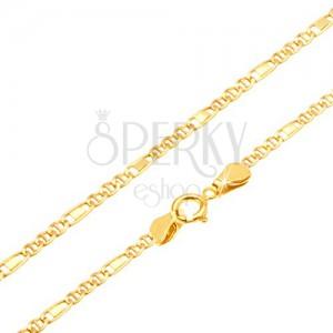 Retiazka v žltom 14K zlate - tri očká, obdĺžnik v článku, 500 mm