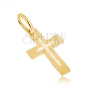 Prívesok v žltom 14K zlate - plochý saténový latinský kríž, gravírovaý