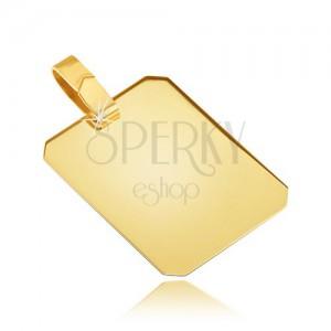 Zlatý prívesok 585 - lesklá hladká obdĺžniková známka, zrezané okraje