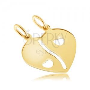 Dvojprívesok v žltom 14K zlate - prelomené lesklé srdce, výrezy srdiečok