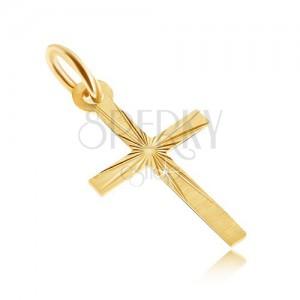 Zlatý prívesok 585 - plochý latinský kríž, saténový povrch, lúčovité ryhy