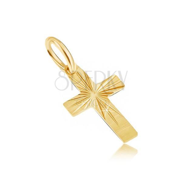 ba6f1b088 Zlatý prívesok 585 - malý latinský kríž, široké ramená, saténový povrch,  ryhy ...