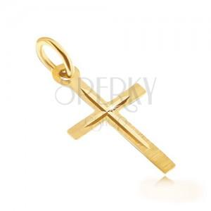 Zlatý prívesok 585 - saténový latinský kríž, leský vyrytý menší krížik