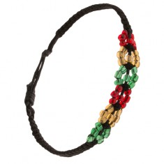 Šperky eshop - Korálkový náramok, čierna šnúrka, farebné kruhy S20.04