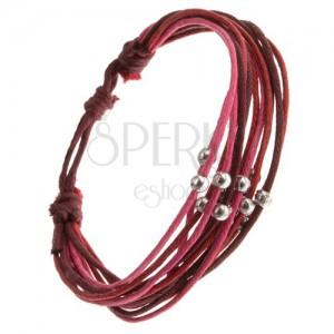 Multináramok, červené, ružové a fialové šnúrky, lesklé kovové guličky