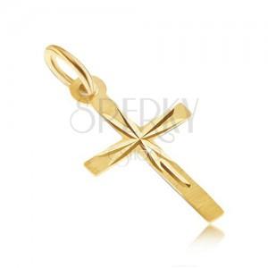 Prívesok v žltom 14K zlate - tenký latinský kríž, saténový povrch, lúče