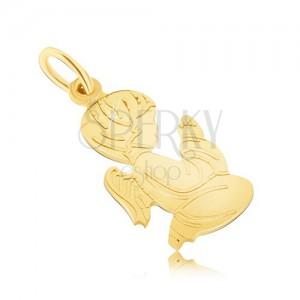 Zlatý prívesok 585 - plochý modliaci sa anjelik, jemné gravírovanie
