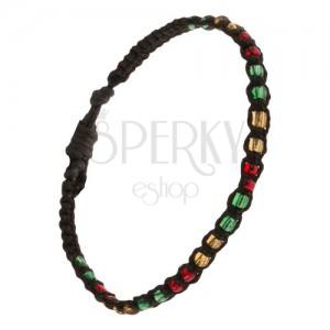 Náramok na ruku, čierna šnúrka, farebný korálkový pás