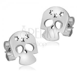 Lesklé oceľové náušnice, lebka s výrezmi troch hviezd