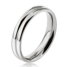Prsteň z ocele 316L, efekt dvoch zaoblených obrúčok, 6 mm
