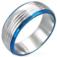 Prsteň z chirurgickej ocele s dvoma modrými pruhmi