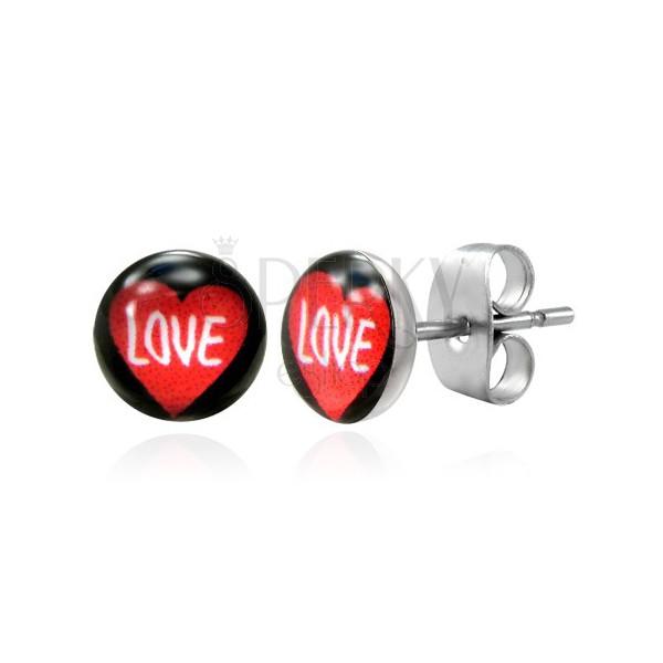Oceľové náušnice srdce s nápisom LOVE