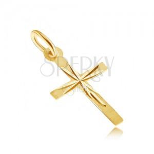 Zlatý prívesok 585 - latinský kríž so saténovou úpravou povrchu, lesklé ryhy