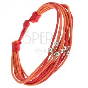 Oranžovo-červený šnúrkový multináramok, korálky striebornej farby
