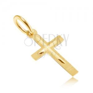Prívesok v žltom 14K zlate - malý saténový latinský kríž, malý lesklý krížik