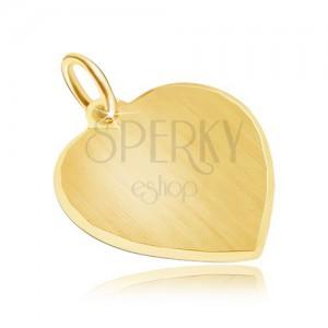 Zlatý prívesok 585 - veľké symetrické saténové srdce, ligotavý okraj