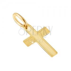 Prívesok v žltom 14K zlate - lesklý latinský kríž, tenké ryhy na okrajoch