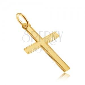 Zlatý prívesok 585 - ligotavý plochý latinský kríž, tenké ryhy na okrajoch